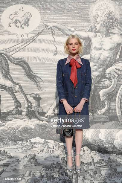 Lucy Boynton arrives at the Gucci show during Milan Fashion Week Autumn/Winter 2019/20 on February 20 2019 in Milan Italy