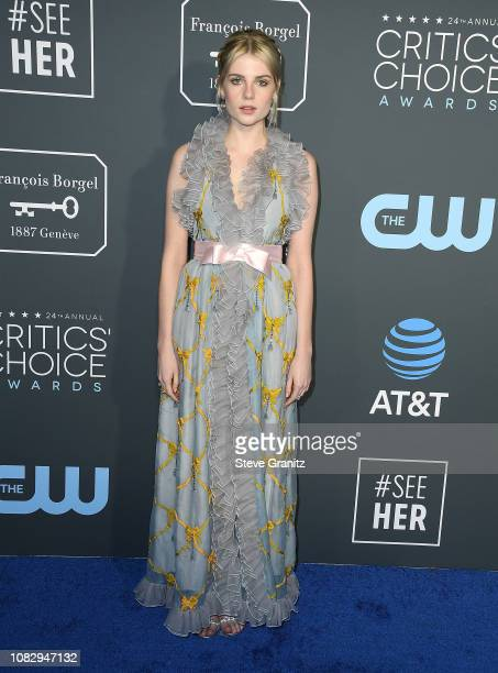 Lucy Boynton arrives at the The 24th Annual Critics' Choice Awards attends The 24th Annual Critics' Choice Awards at Barker Hangar on January 13 2019...