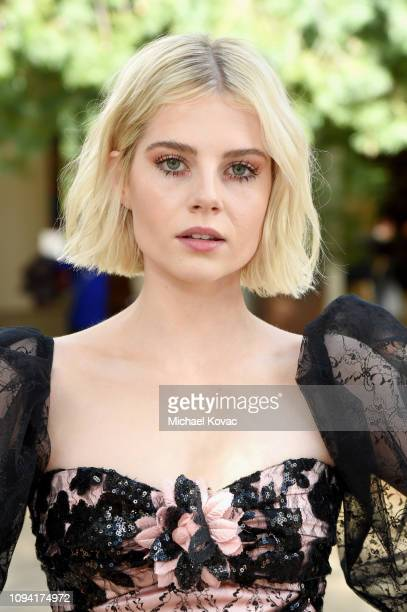 Lucy Boynton attends JNSQ Rose Cru debuts alongside Rodarte FW/19 Runway Show at Huntington Library on February 5 2019 in Pasadena California