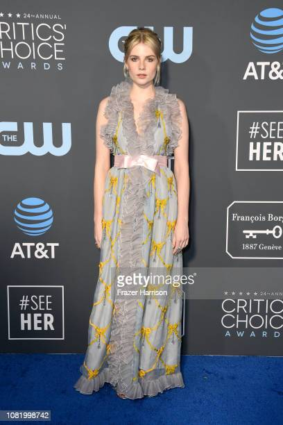 Lucy Boynton attends the 24th annual Critics' Choice Awards at Barker Hangar on January 13 2019 in Santa Monica California