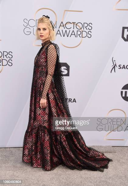 Lucy Boynton attends the 25th Annual Screen ActorsGuild Awards at The Shrine Auditorium on January 27, 2019 in Los Angeles, California. 480645