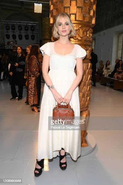Lucy Boynton attends the Chloe show as part of the Paris Fashion Week Womenswear Fall/Winter 2020/2021 on February 27 2020 in Paris France