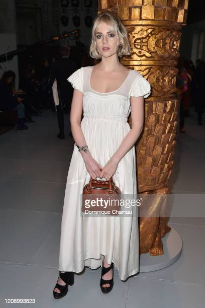 Lucy Boynton attends the Chloe show as part of the Paris Fashion Week Womenswear Fall/Winter 2020/2021 on February 27, 2020 in Paris, France.