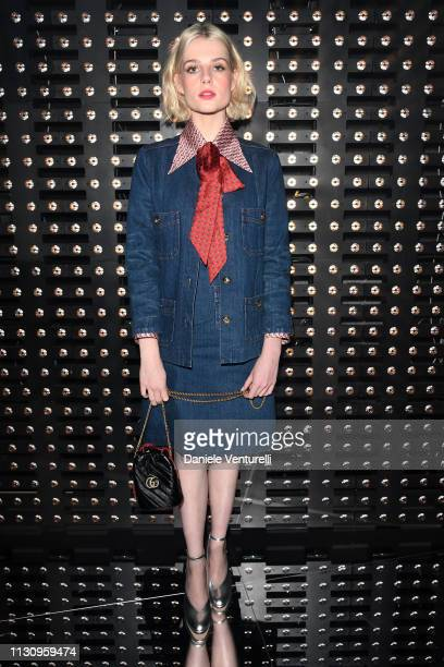 Lucy Boynton attends the Gucci show during Milan Fashion Week Autumn/Winter 2019/20 on February 20 2019 in Milan Italy