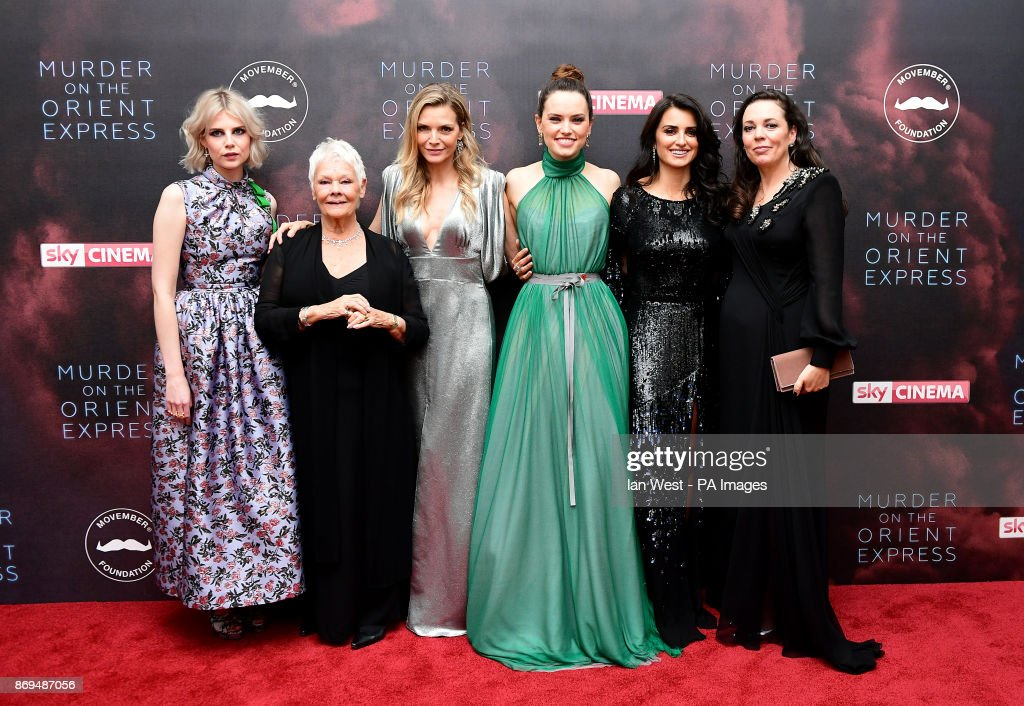 Lucy Boynton (left to right), Dame Judi Dench, Michelle Pfeiffer, Daisy Ridley, Penelope Cruz and Olivia Colman attending the world premiere of Murder On The Orient Express at the Royal Albert Hall, London.