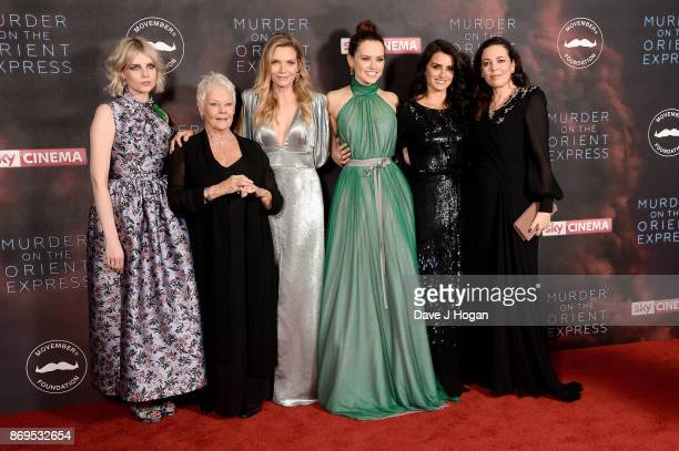 Lucy Boynton Dame Judi Dench Michelle Pfeiffer Daisy Ridley Penelope Cruz and Olivia Coleman attend the 'Murder On The Orient Express' World Premiere...