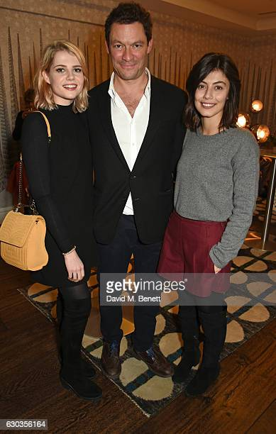Lucy Boynton Dominic West and Alessandra Mastronardi attend a VIP screening of 'Sing Street' hosted by Harvey Weinstein and Dominic West at The Soho...