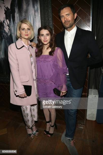 Lucy Boynton Emma Roberts and Osgood Perkins attend the after party for 'The Blackcoat's Daughter' hosted by The Cinema Society A24 and DirecTV on...