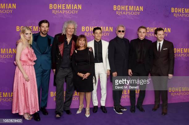 Lucy Boynton Gwilym Lee Brian May Kashmira Cooke Rami Malek Roger Taylor Ben Hardy and Joe Mazzello attend the World Premiere of Bohemian Rhapsody at...