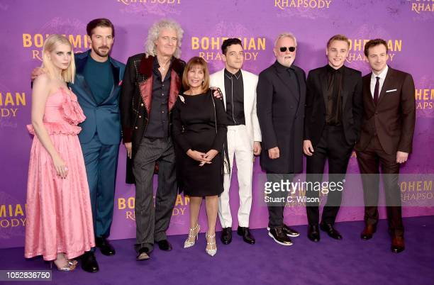 Lucy Boynton Gwilym Lee Brian May Kashmira Cooke Rami Malek Roger Taylor Ben Hardy and Joe Mazzello attend the World Premiere of 'Bohemian Rhapsody'...