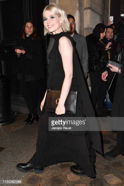 Lucy Boynton is seen arriving at Valentino fashion show during Paris Fashion Week Haute Couture Spring Summer 2020 on January 23 2019 in Paris France