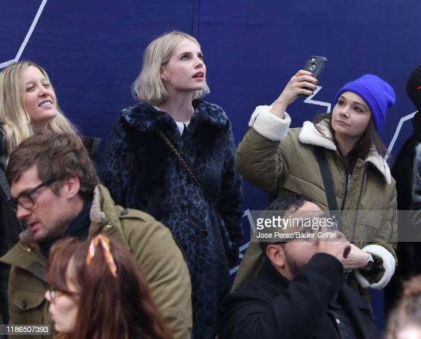Lucy Boynton is seen at Times Square on December 04 2019 in New York City