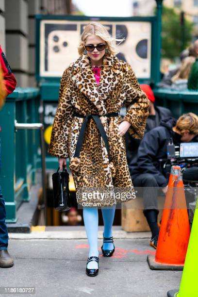 Lucy Boynton is seen filming a scene for 'The Politician' in SoHo on November 07, 2019 in New York City.