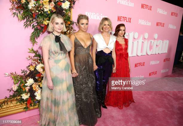Lucy Boynton Julia Schlaepfer January Jones and Zoey Deutch attend The Politician New York Premiere at DGA Theater on September 26 2019 in New York...