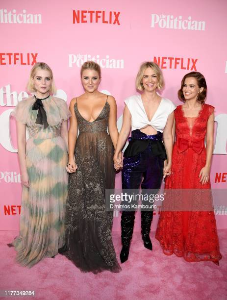 Lucy Boynton Julia Schlaepfer January Jones and Zoey Deutch attend Netflix's The Politician Season One Premiere at DGA Theater on September 26 2019...