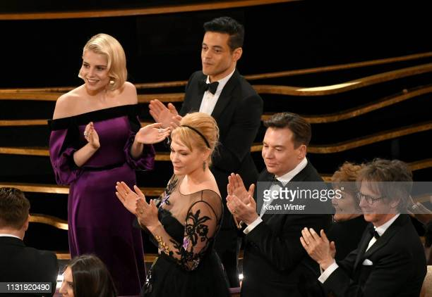 Lucy Boynton Kelly Tisdale Rami Malek Mike Myers and Dana Carvey attend the 91st Annual Academy Awards at Dolby Theatre on February 24 2019 in...
