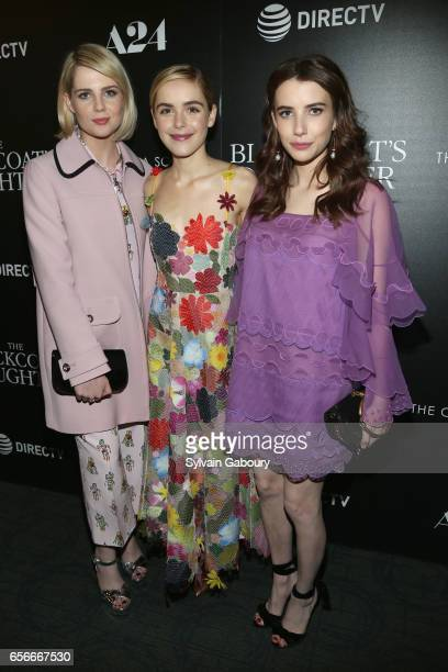 Lucy Boynton Kiernan Shipka and Emma Roberts attend A24 and DirecTV with The Cinema Society Host a Screening of 'The Blackcoat's Daughter' on March...