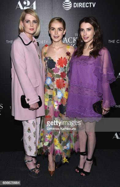 Lucy Boynton Kiernan Shipka and Emma Roberts attend the A24 And DirecTV With The Cinema Society host a Screening Of 'The Blackcoat's Daughter' at...