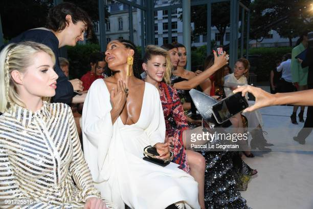 Lucy Boynton Tracee Ellis Ross and Amber Heard attend the Valentino Haute Couture Fall Winter 2018/2019 show as part of Paris Fashion Week on July 4...