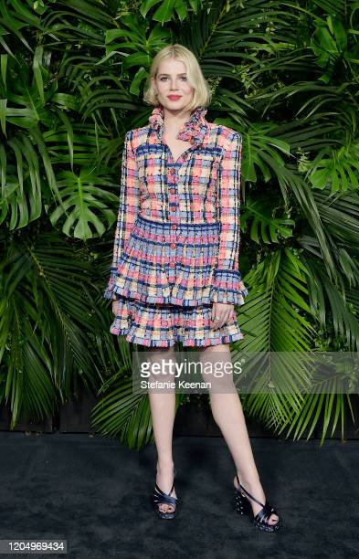 Lucy Boynton wearing CHANEL attends CHANEL and Charles Finch PreOscar Awards Dinner at Polo Lounge at The Beverly Hills Hotel on February 08 2020 in...