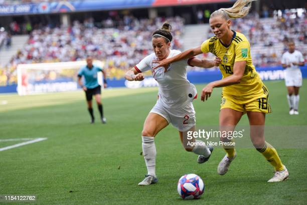 Lucy Bronze of England and Fridolina Rolfo of Sweden during the 2019 FIFA Women's World Cup Third place match between England and Sweden on July 6,...