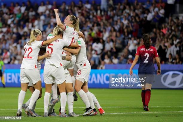 Lucy Bronze of England celebrates after scoring a goal to make it 03 during the 2019 FIFA Women's World Cup France Quarter Final match between Norway...