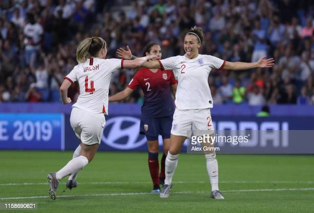 Lucy Bronze of England celebrates after scoring her team's third goal during the 2019 FIFA Women's World Cup France Quarter Final match between...