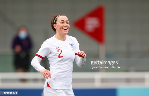 Lucy Bronze of England celebrates after scoring their team's third goal during the Women's International Friendly match between England and Northern...