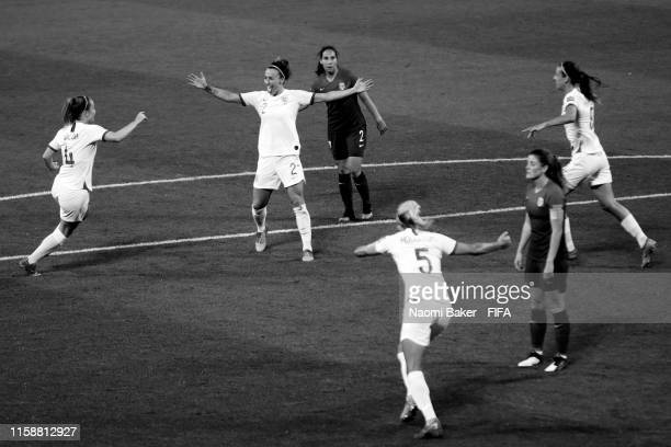 Lucy Bronze of England celebrates with her team after she scores her sides third goal during the 2019 FIFA Women's World Cup France Quarter Final...