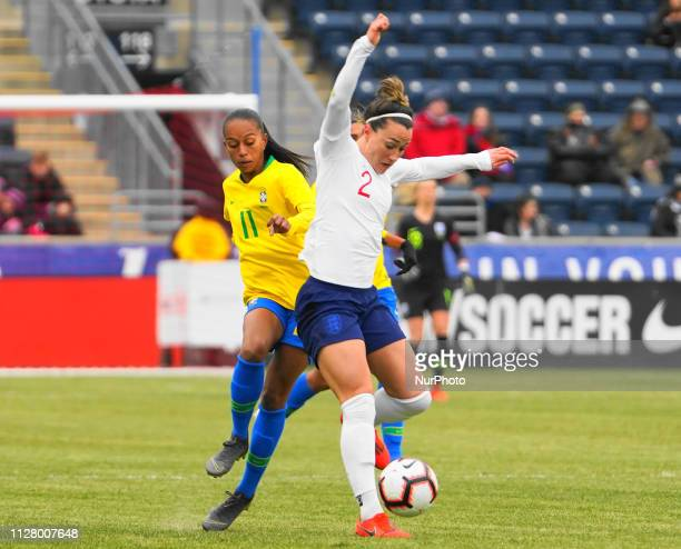 Lucy Bronze of England going forward with the ball during the She Believes Cup football match between The United States and Japan at Talen Energy...