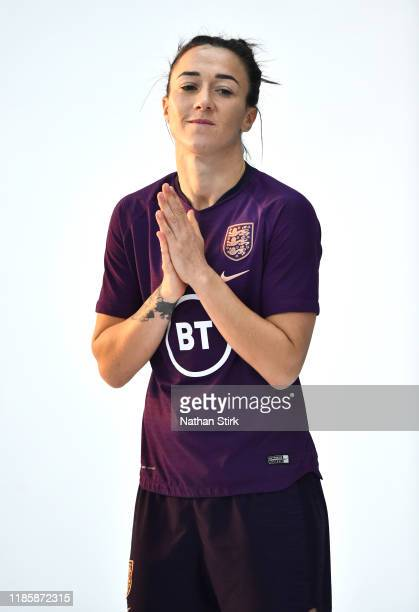 Lucy Bronze of England poses for a photograph during a England Women Media Access day at St Georges Park on November 06, 2019 in Burton-upon-Trent,...
