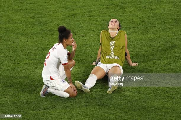 Lucy Bronze of England reacts following the 2019 FIFA Women's World Cup France Semi Final match between England and USA at Stade de Lyon on July 02...