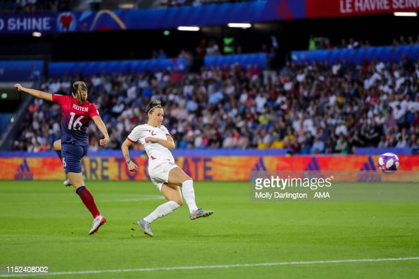 Lucy Bronze of England scores a goal to make it 03 during the 2019 FIFA Women's World Cup France Quarter Final match between Norway and England at...