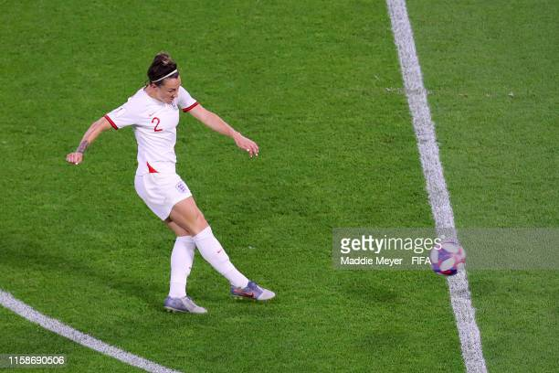 Lucy Bronze of England scores her team's third goal during the 2019 FIFA Women's World Cup France Quarter Final match between Norway and England at...