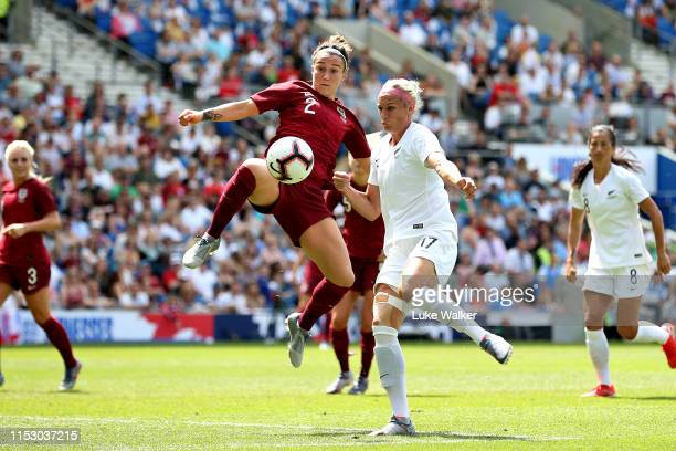 Lucy Bronze of England Women and Hannah Wilkinson of New Zealand Women battle for the ball during the International Friendly between England Women...
