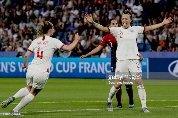 Lucy Bronze of England Women celebrates 03 with Keira Walsh of England Women during the World Cup Women match between Norway v England at the Stade...