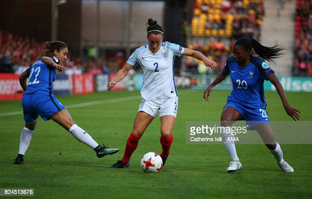 Lucy Bronze of England Women in action with Sakina Karchaoui and Kadidiatou Diani of France Women during the UEFA Women's Euro 2017 match between...