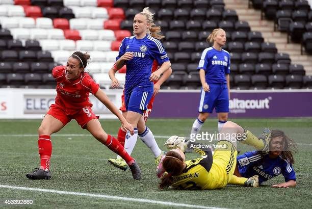 Lucy Bronze of Liverpool Ladies celebrates after scoring the second goal during the WSL match between Liverpool Ladies v Chelsea Ladies at Select...