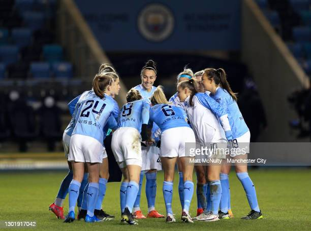 Lucy Bronze of Mancheser City reacts during a half time team talk during the Barclays FA Women's Super League match between Manchester City Women and...