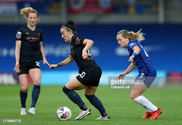 Lucy Bronze of Manchester City and Erin Cuthbert of Chelsea during the Barclays FA Women's Super League match between Chelsea Women and Manchester...