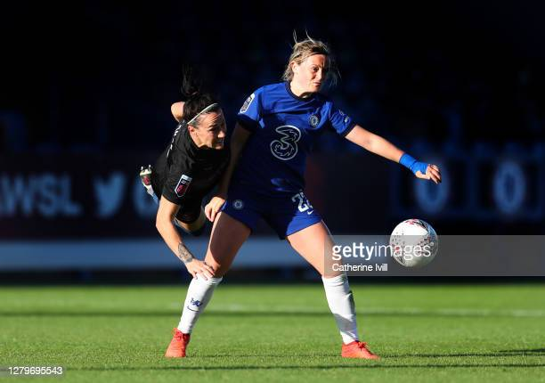 Lucy Bronze of Manchester City battles with Erin Cuthbert of Chelsea during the Barclays FA Women's Super League match between Chelsea Women and...
