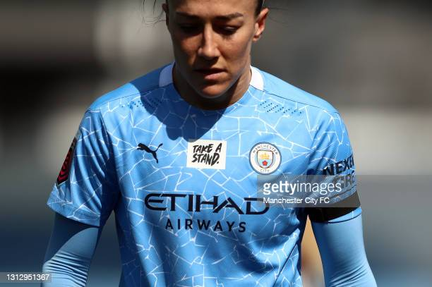 Lucy Bronze of Manchester City is seen wearing a black armband during the Vitality Women's FA Cup Fourth Round match between Manchester City Women...