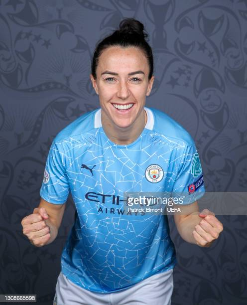 Lucy Bronze of Manchester City poses during the UEFA Women's Champions League Portraits at Manchester City Training Ground on March 19, 2021 in...