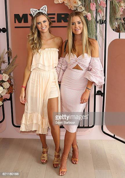 Lucy Brownless and Ruby Brownless pose at the Myer Marquee on Stakes Day at Flemington Racecourse on November 5 2016 in Melbourne Australia