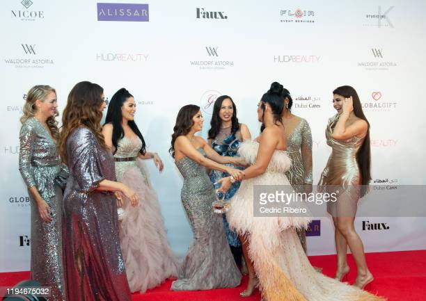Lucy Bruce Maria Bravo Mona Kattan Eva Longoria Baston Edwina Viel Huda Kattan Genevieve Pantin Jacqueline Fernandez attend the The Global Gift Gala...