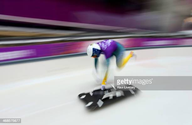 Lucy Chaffer of Australia makes a run during a Women's Skeleton training session on Day 4 of the Sochi 2014 Winter Olympics at the Sanki Sliding...