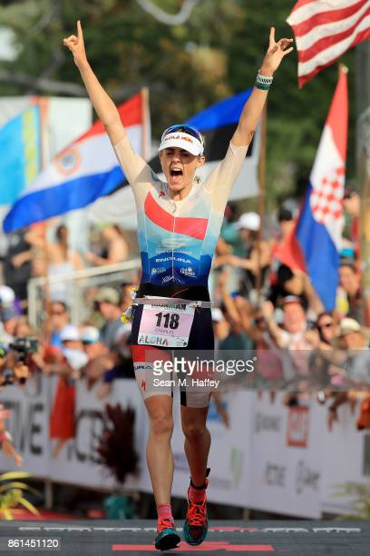 Lucy Charles of Great Britain celebrates after finishing second during the IRONMAN World Championship on October 14 2017 in Kailua Kona Hawaii