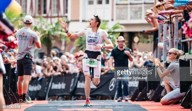 Lucy Charles of Great Britain celebrates as she finishes second during the Ironman European Championships on July 9 2017 in Frankfurt am Main Germany