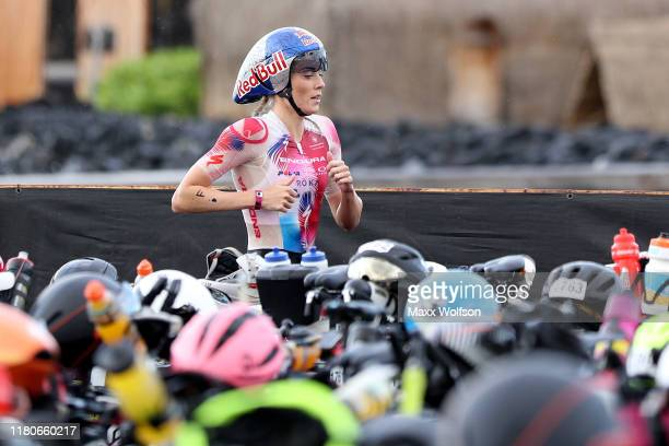 Lucy Charles-Barclay of Great Britain runs through the transition area in the Ironman World Championships on October 12, 2019 in Kailua Kona, Hawaii.