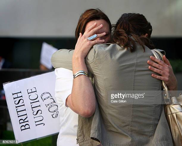 Lucy Clarke girlfriend of Gary McKinnon is comforted by a supporter as she cries during a peaceful demonstration held in support of the British...